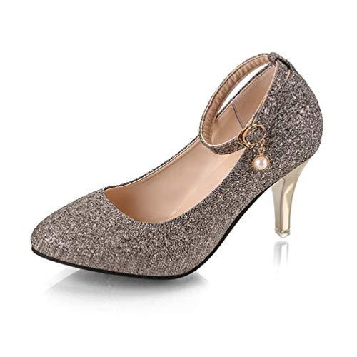 Frauen Hochzeits-Court-Schuhe KnöchelGurt Pumpen Kleider Schuhe Bling High Heels Spitzen Zehen Stilettos