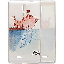 Guran® Silicona Funda Carcasa para Cubot P11 Smartphone Bumper TPU case Cover-Gato en amor con pescado