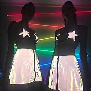 AmyGline T Shirt Damen Oberteile Reflektierende Schnallen Festival Bralette BH Bustier Crop Tops Bandage Camisole Party