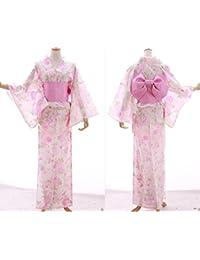 Kawaii-Story K-015 weiß rosa Crysanthemen Giltzer Schmetterling Blumen ORIGINAL traditionell Japan Damen Kimono YUKATA OBI Gürtel Baumwolle