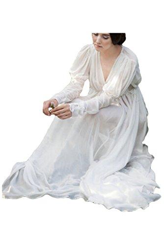 (Ditshore Damen Langarm Mittelalter Kleid-Gothic Viktorianischen Königin Kostüm,V-Ausschnitt Prinzessin Renaissance Bodenlänge,Weiß)