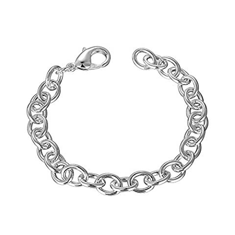 BODYA Silver Plated Lobster Clasp Link Cable Chain Bracelet 20cm Fit Clip on Charm Pendant