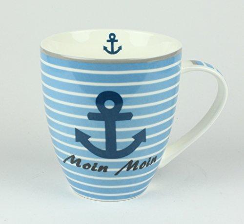 Maritimer Becher Anker Moin Moin gestreift Tasse Kaffee Becher Andenken weiß blau