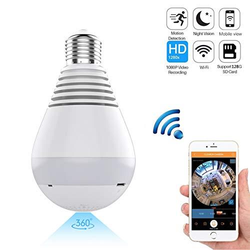 WiFi IP-Dome-Kamera, 1080P Wireless HD 360-Grad-Fisheye-Überwachungskamera-Überwachungssystem, Panorama-Birne mit Nachtsicht-Kamera mit Bewegungserkennung für iPhone/Android Phone/iPad