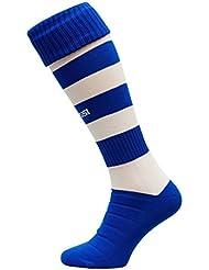Medias de fútbol modelo C 100% transpirables, en muchos colores, color azul y blanco, tamaño 38-41