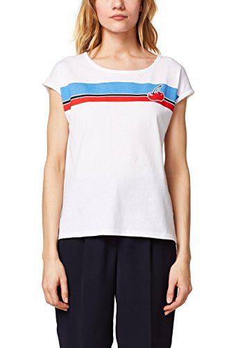 edc by ESPRIT Damen T-Shirt 058CC1K100, Weiß (White 2 101), XX-Large