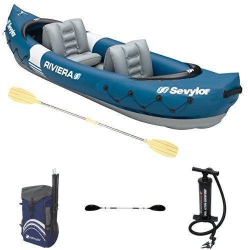 Sevylor Kajak Riviera & Sevylor Tragetasche Quikpak & Sevylor Alu-Doppelpaddel & Campingaz Luftpumpe Dual Action