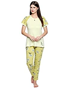 0ebdb6834f Valentine Night Suit for Women - Cream and Golden Lounge Set for Women -  Printed Top