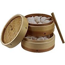 Cesta de bambú 3piezas, incluye tapa, madera, naturaleza, Ø18 x 13,7cm H