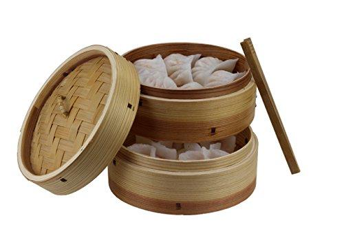 Bambus-Dämpfer 3 teilig in Zedernholz eingefasst, inklusive Deckel, 2 Ebenen und Zange aus Bambus...