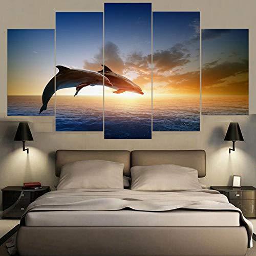Wodes Impresión Hd Imagen Modular Lienzo Home Wall Art Deco 5 Piezas Salto...