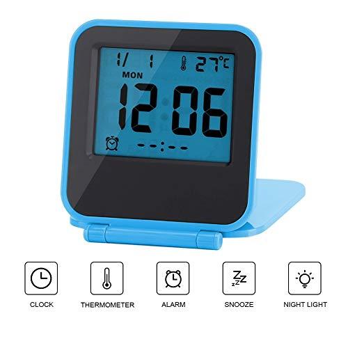 Schreibtisch Wecker BiuZi 1Pc ABS Tragbare Mini-Digital-Wecker LCD-Display-Beleuchtung Faltbare Thermometer Wecker (Weiß, Grün, Blau, Orange) (Farbe : Blau) -