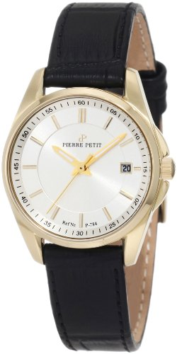 Pierre Petit P-784C - Reloj analógico de cuarzo para mujer con correa de piel, color negro