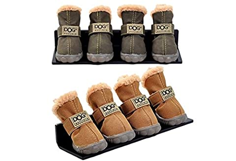 4Pcs/Set Puppy Velcro Waterproof PU Leather Shoes Pet Dog Anti-Slip Warm Protective Boots (color: Brown,size: L)