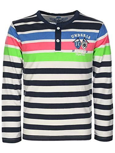 Kinder Jungen Pullover Langarm-Shirt Pulli Sweater Knopfleiste Rundhals 30129 Navy 158 bis 164 -