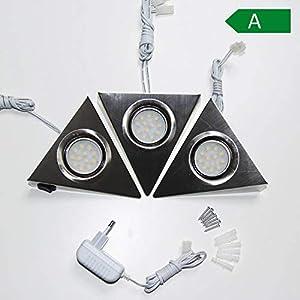 LED Unterbauleuchte 3-fach mit Schalter für Küchenschrank - Dreieck-Design aus Edelstahl - Küchen-Leuchte Küchenlampe Schrankleuchte Dreieckleuchte Küchenleuchte