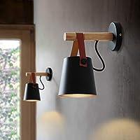 lailongp Nordic LED Wall Light, Wooden Belt Hanging Lamp, Modern Bedside Lamp For Living Room Restaurant, Black, 5.12x8.66inch