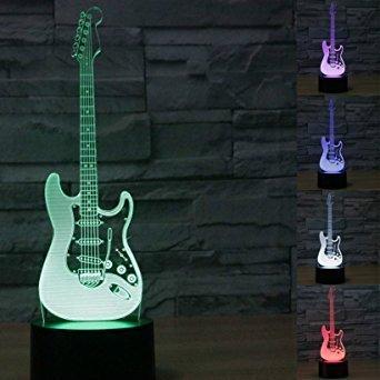 LED Nachtlicht Magical 3D Die elektrische gitarre Amazing Optische Täuschung Touch Control Light 7 Farben ändern für Kinderzimmer Home Decoration Best Geschenk