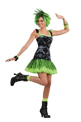 Funk Skulls Dress Female Costume. Ideal for Halloween, Punk, 80s Dress-Up