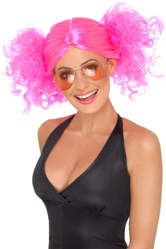 �cke mit kurzen Zöpfen pinke Perücke für Damen pink kurz (Kurze Pinke Perücken)