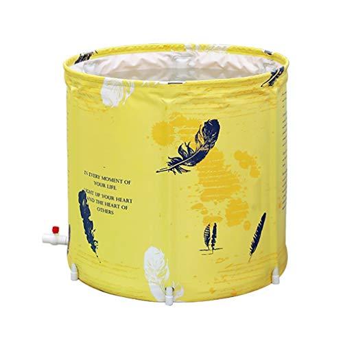 Plastikeimer Badewanne Folding Wannenbad Fass Erwachsenen Wanne Aufblasbare Badewanne Dicker (Color : Yellow)