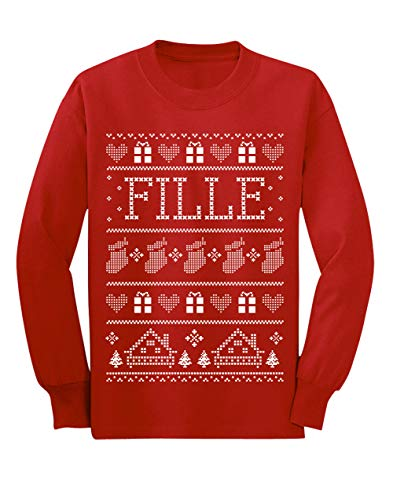 Green Turtle T-Shirts Vêtement de Noël Assorti pour Toute la Famille Fille Rouge 3/4 Ans 104cm