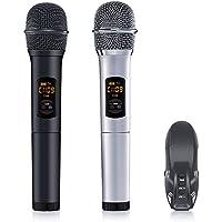 ELEGIANT Wireless Mikrofon, Bluetooth UHF Funkmikrofon Set Professional Karaoke Anlage Drahtloses Mikrofonsystem Kabellos Dual Handheld Dynamischen Mikrofone mit USB Empfänger für Party Konferenz