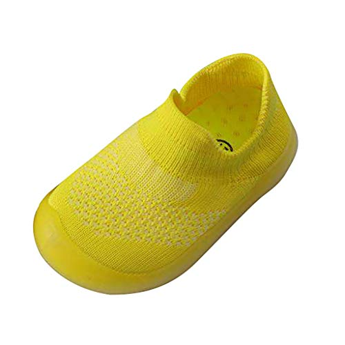 Deloito Nettes Kleinkind Babyschuhe Infant Flache Kinderschuhe Mädchen Jungen Gestrickte atmungsaktive Sportschuhe (Gelb,21-22 EU)