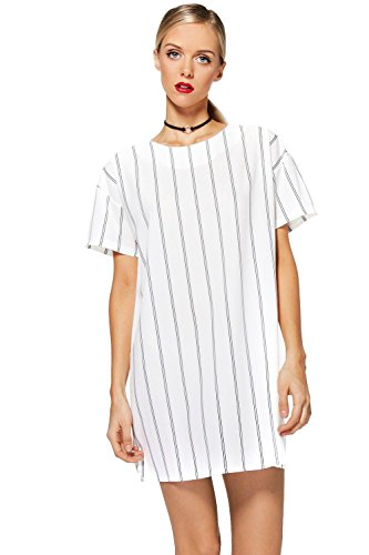 blanc Femmes Tanya Robe Droite À Rayures Verticales Blanc