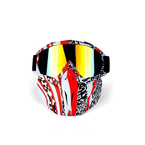 Hdcwz 2019 Die Neue Farbe Outdoor Gesichtsschutz Maske Brille Motorrad Reiten Off-Road Brille Brille Brille Brille (Color : A)