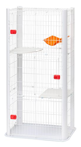 IRIS, Katzenkäftig CSC1-3, 3 Ebenen, Kunststoff / Draht mit Epoxidbeschichtung, weiß, 91 x 50 x 170 cm