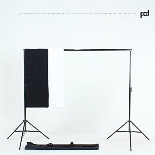 FOTOFOKUS Fotoset FF11 Fotostudio Hintergrundsystem 300cm x 200cm / 10ft x 7ft Fotoständer Kit inkl. Hintergrundstoff Weiß Schwarz + Tasche + Studioklemmen