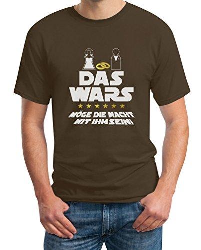 Junggesellenabschied T-Shirt JGA Bachelor Party Outfit - Das Wars Möge Die Macht Mit Ihm Sein T-Shirt X-Large Braun