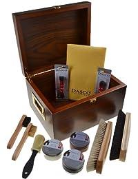 Dasco - Caja limpiabotas de nogal con artículos para la limpieza de zapatos