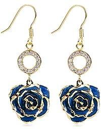 483271fbcde7 Pendientes para las mujeres 24K Bañadas en oro con flor de rosa el oído  Joyas ella