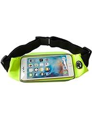 Cinturón de Cintura Para Correr Pack–Lively Vida sudor Cinturón de Cintura Bolsa para iPhone 6S/6Plus Samsung Galaxy S7/S7edge con ventana de pantalla táctil transparente, color  - verde fluorescente, tamaño 5.5-6 inch
