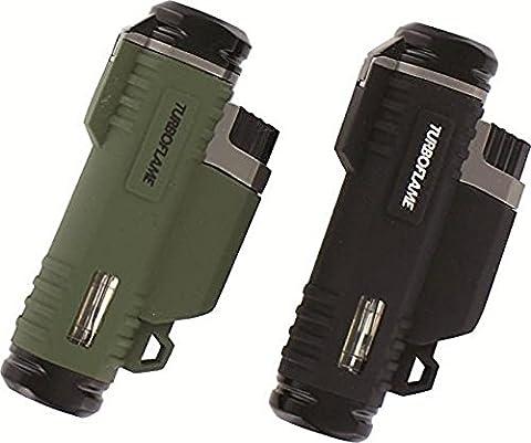 Turboflame Ranger Wind Resistant Twin Laser Jet Torch Flame Lighter Black/Green