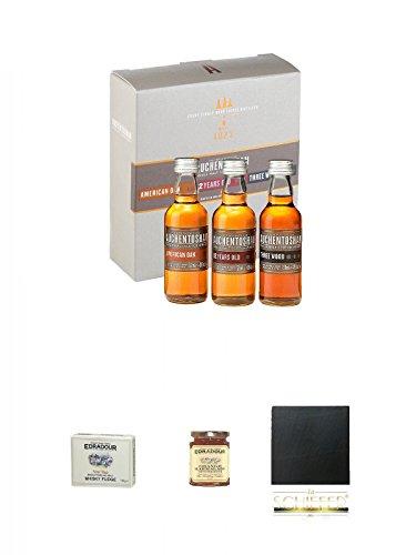 Auchentoshan Mini-Collection 12 Jahre / Three Wood / American Oak 3 x 5cl + Edradour Malt Whisky Fudge 170 Gramm GP + Edradour Malt Whisky Orangen Marmelade 227 Gramm Glas + Schiefer Glasuntersetzer eckig ca. 9,5 cm Durchmesser
