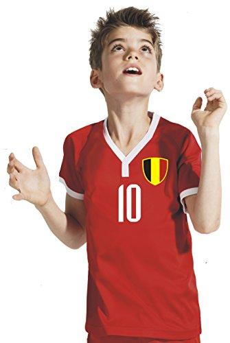 Belgien Kinder Trikot - Hose Stutzen inkl. Druck Wunschname + Nr. RSS WM 2018 (128)