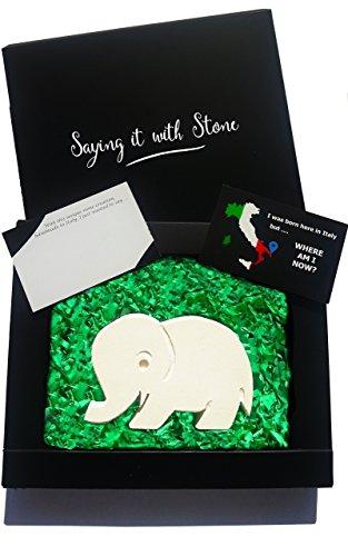Elefant aus Stein - Glücksbringer - Handgemacht in Italien - Geschenk Geschenkidee Geburtstag Jahrestag Hochzeitstag Hochzeit Männer, Frauen & Freundin Barock-skulptur