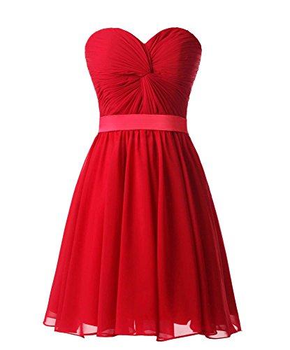 Lovelybride Damen Schatz Chiffon Brautjungfernkleid Kurz Mini Partykleid Abendkleid Friesen Satin