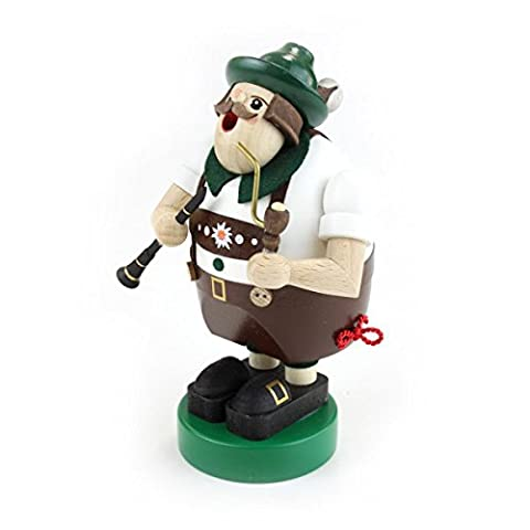 Glässer 26121 Musician with Clarinet incense burner, traditional wooden handmade German Christmas decoration, 16 cm