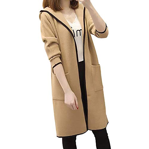 TITAP 2018 Womens Winter Loose Hooded Wild Elegant Windbreaker Cashmere Sweater Coat Lady Hoodie Pockets Long Cardigan (Size:L, Khaki)