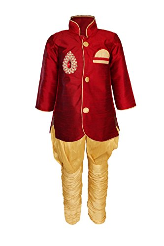 JBN Creation Boys Cotton Silk Indo Western with Jodhpuri Breeches (VASBSW035_28_Maroon_E2)