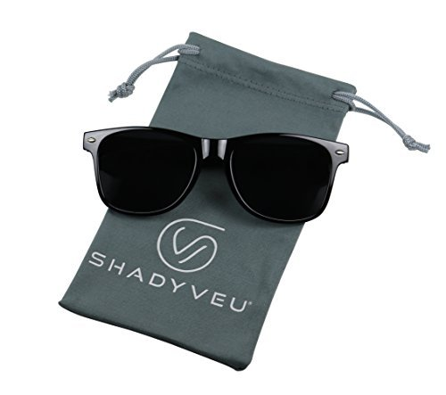 0d343c268bec7 ShadyVEU - Exclusive Super Dark Lens Retro 80 s Spring Hinge Wayfarer  Sunglasses (Glossy Black