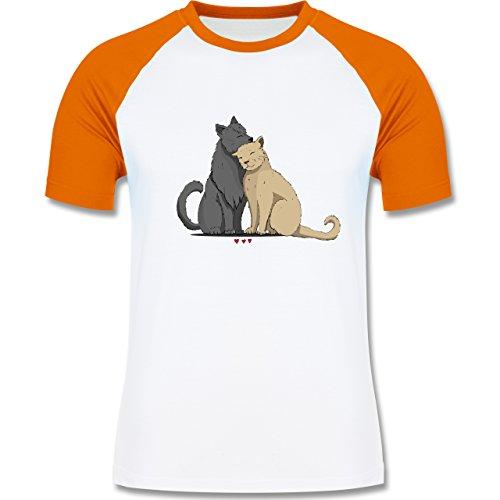 Katzen - kuschelnde Katzen - zweifarbiges Baseballshirt für Männer Weiß/Orange