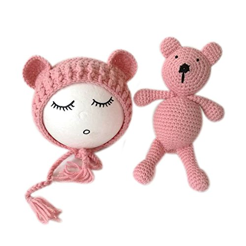 Mädchen Kostüm Bär - Neugeborene Baby Fotografie Requisiten Junge Mädchen Häkeln Kostüm Hat Bär (Rosa)