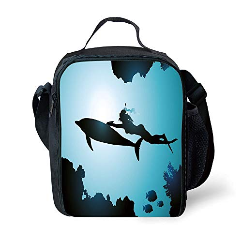ZKHTO School Supplies Dolphin,Scuba Diver Girl Swimming with Dolphin Silhouette in Sea Fish Reefs Image,Pale Blue Black for Girls or Boys Washable -