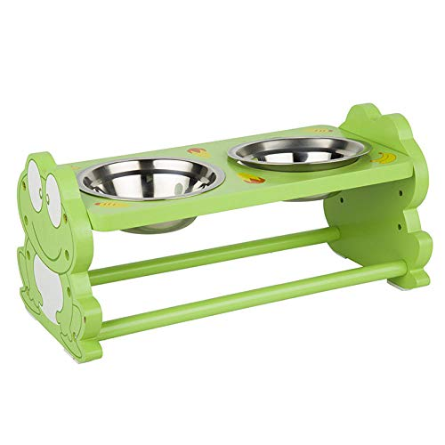 THFPetting Bandejas Protectoras de adiestramiento Dog Bowl Pet Cute Wooden Dish Rack Fashion Stainless Steel Dog Food Bowl Pet Table Creative Frog
