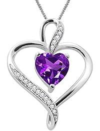 "Silvernshine Women's 1.25 Ct Heart Cut Amethyst & Diamond Pendant Necklace, 18"" .925 Silver Chain"